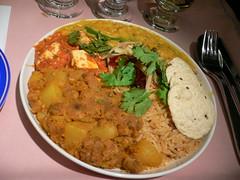 Dry potato-lentil dumpling, paneer in basil tomato gravy