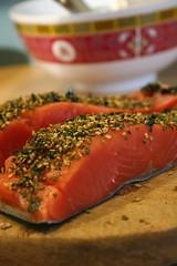 Raw furikake salmon
