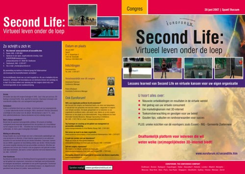 Second Life in the Netherlands Conference Brochure