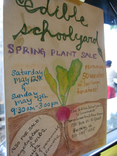 edible schoolyard's sign for their spring plant sale