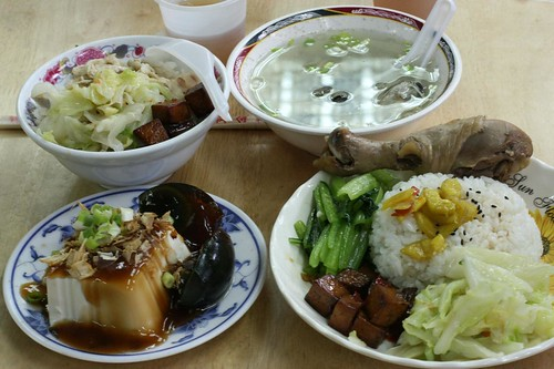 turkey rice, chicken rice, tofu with century egg, oyster soup
