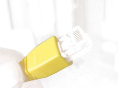 Yellow Ethernet plug, filtered