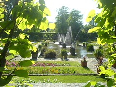 Fountains Through Lime Hedge