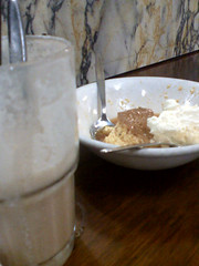 Ice coffee and creme brulee