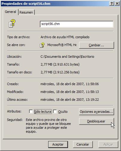 Desbloquear archivos CHM