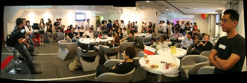 the crowd at BlogOut, with many standing