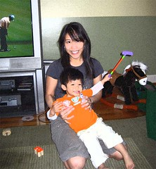 me and my putter (and mom)