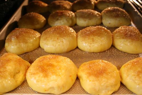 saffron buns go in the oven!