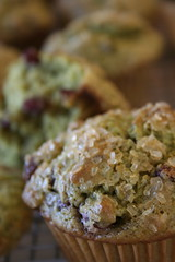 Green tea muffins with azuki beans