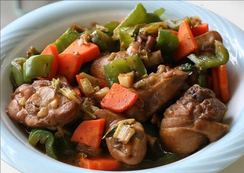 chicken, green bell peppers, carrots
