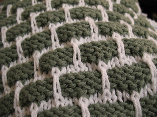 Green and White Dishcloth