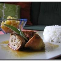 Hühnerkeule á la Saltimbocca mit Mozzarella