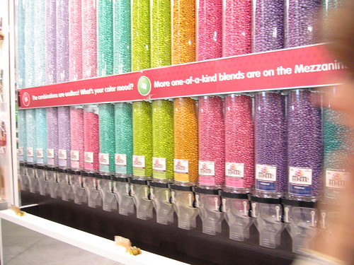 m&m store wall of m&ms