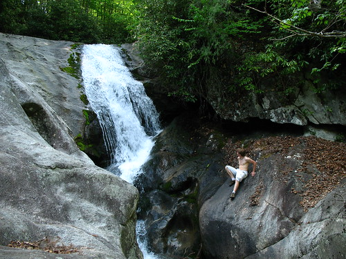 Erby looks onto Bard Falls from the side of the awesome rock