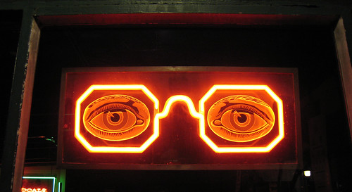 Neon glasses at Old Focals