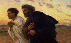 The Disciples Peter and John Running to the Sepulchre on the Morning of hte Resurrection-Eugene.Burnand