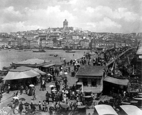 Bridge and Galata Area, Istanbul, Turkey by Abdullah Frères, ca. 1880-1893