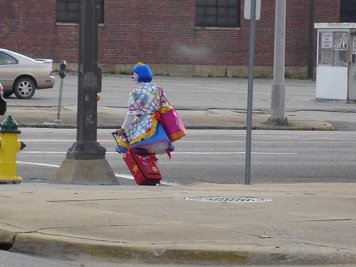 Clown Leaving BJCC, Shelter, in Birmingham AL