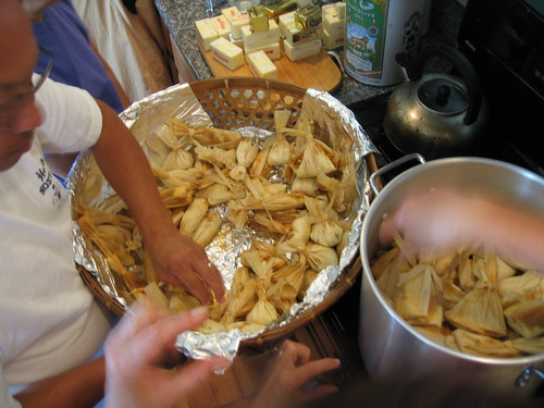 Steaming the pork tamales