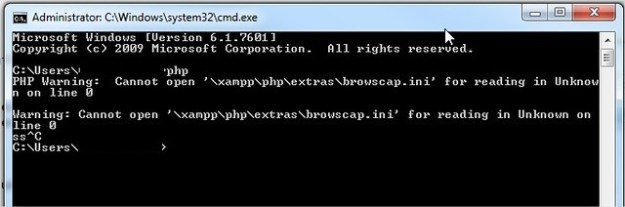 PHP Warning:  Cannot open '\xampp\php\extras\browscap.ini' for reading in Unknown on line 0