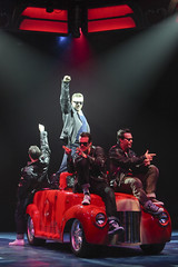 (From top center, clockwise) Michael D. Jablonski, Keven Quillon and Brandon Albright as Kenickie, Roger and Danny in the Music Circus production of Grease June 26 through July 1, 2012. Photo by Charr Crail.