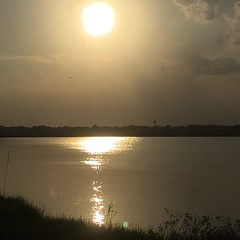 Golden sunset over the lake tonight. Almost makes up for the ridiculous heat today. On Rt. 90 in Estherwood, LA. #theworldwalk #sunset #travel #twwphotos