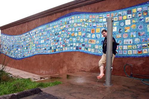 Ceramic tile mosaic wall mural rockaway beach for Ceramic wall mural