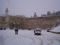 Snow at the Western Wall