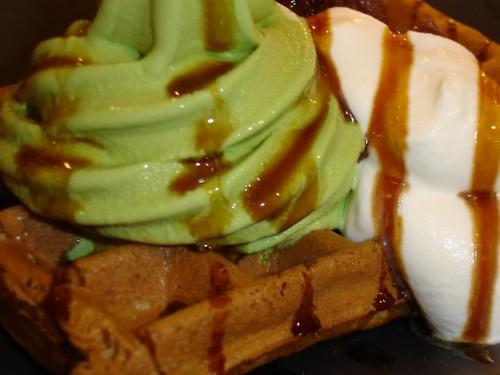 Macha and Soy Milk Ice Cream on Waffle