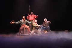 (L to R) Ben Fankhauser as Huck Finn, Phillip Boykin as Jim, Jeff Skowron as Duke and William Parry as King in Big River, produced by Music Circus at the Wells Fargo Pavilion June 23-28, 2015. Photos by Charr Crail.