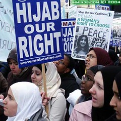 Demonstration against hijab ban by menj