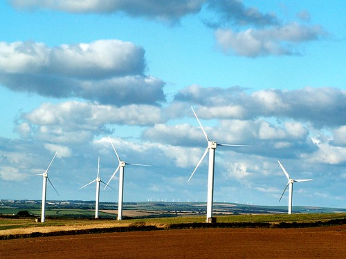 A wind farm in Cornwall County, England