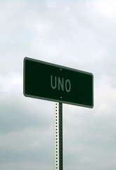 Highway sign for Uno, Kentucky