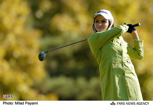 Iranian woman golfer (see below for many more pictures and and stories about the womens sports scene in Iran).