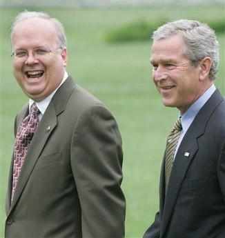 Karl Rove (left), Deputy Chief of Staff to President George W. Bush (right) until Rove's scandal-plagued resignation in August 2007. Rove has since become an informal advisor to presidential hopeful Sen. John McCain.