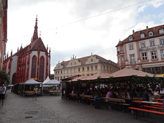 The Wurzburg main square was temporarily set up with beer gardens