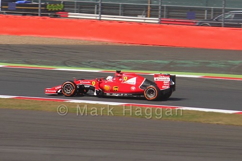 Sebastian Vettel's Ferrari in Free Practice 1 at the 2015 British Grand Prix