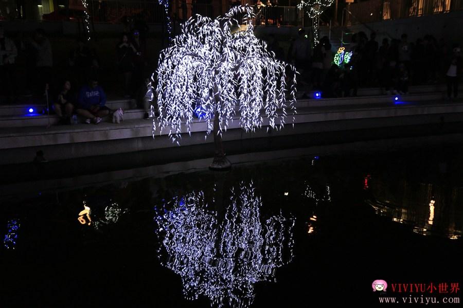 [台中.旅遊]柳川藍帶水岸新亮點~台中中西區最新打卡景點.浪漫藍色燈海照亮夜晚 @VIVIYU小世界