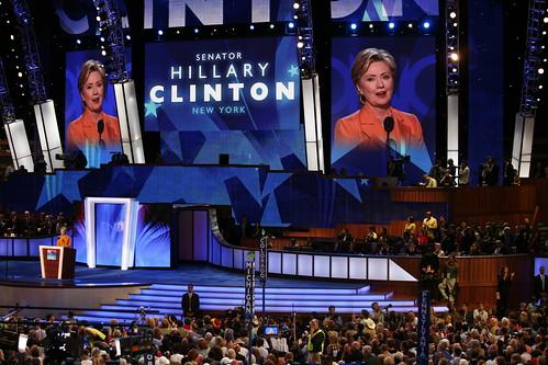 Hillary Clinton durante su discurso en la Convención Demócrata el martes 26