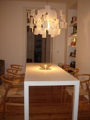 Lampe mit Zetteln