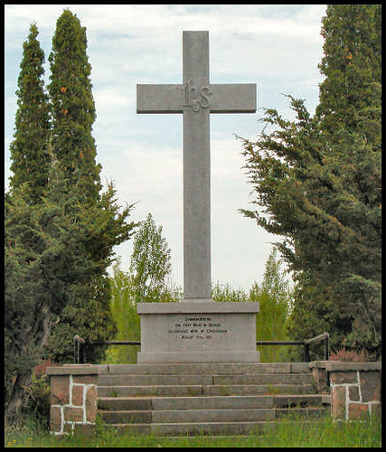 photo Carhagouha cross, site of 1st Mass in Ontario, August 12, 1615