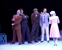 """(L to R) James Patterson as Andy Lee, Patrick Ryan Sullivan as Julian Marsh, Ron Wisniski as Mac and Zachary S. Berger as Billy Lawlor in the 2010 Music Circus production of """"42nd Street"""" at the Wells Fargo Pavilion August 24-29.  Photo by Charr Crail."""