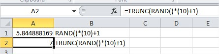 Excel Generate Random Number RAND()