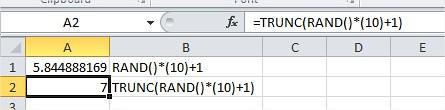 Excel Generate Random Number RAND()
