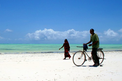 woman, man, bike