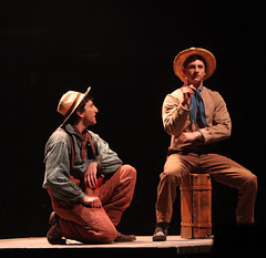 (L to R) Ben Fankhauser as Huck Finn and James Michael Lambert as Tom Sawyer in Big River, produced by Music Circus at the Wells Fargo Pavilion June 23-28, 2015. Photos by Charr Crail.