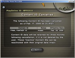 Cancelling Final Fantasy XI Account