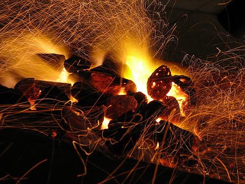 Burning briquets