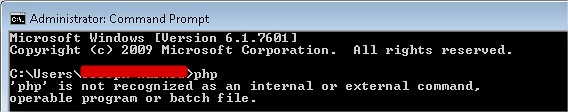 PHP is not recognized as an internal or external command, operable program or batch file