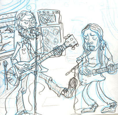 2004 sketch of Little Wings performing at La Guingette Pirate